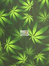 CANNABIS MARIJUANA SPANDEX FABRIC - Green - BY THE YARD LEGGINGS LYCRA WEED