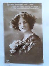 "Vintage Early 1900's Greetings Birthday Postcard -"" Sincere Birthday Greetings """
