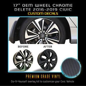 "For 2016-2019 Honda Civic EX 17"" Rim Wheel Chrome Delete Kit Matte Carbon Fiber"