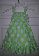 NWT Maggie & Zoe Polka Dot Dress lime Green White Easter 3T bow ruffles NEW