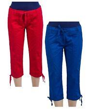 Ladies Cropped Trendy Three Quarter Capri Cotton Trousers Pants Size UK 6 - 16