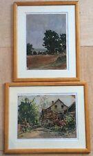 Louis BISSINGER 1899-1978 Ec.Lyon 2 aquarelles Paysages signées,datées, Titrées