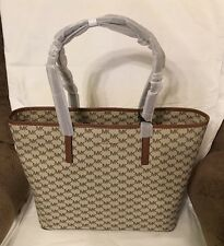 NWT! MICHAEL KORS Studio Emry Large Logo Tote Bag Purse Natural/Luggage $328