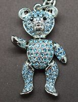 Sapphire Blue Teddy Bear Key Chain made with Swarovski Crystals