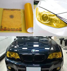 "12"" x 60"" Glossy Car Headlight Taillight Vinyl Wrap Film Fog Tint Gold Yellow CF"
