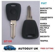 Fiat Llave del coche en blanco (negro caso y GT15R Hoja) Corte a número de código libre de corte