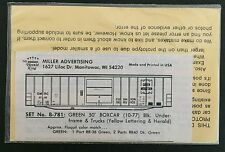 Herald King HO Decal  GMRC Green Mountain 50' Green Box Car #B-781 Vintage