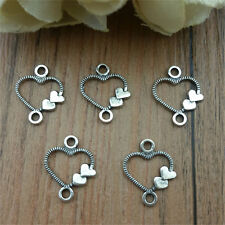 Wholesale 50pcs Heart  silver Charm Pendant beaded Jewelry Findings DIY