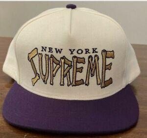 *New* SUPREME Bones Logo 5-Panel Snapback Hat Cap - White/Purple - SS21