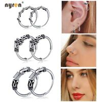 Multi Style Silver Piercing Earrings Ring Hoop Ear Lip Nose Body Septum Piercing