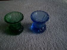 2 Pressed Glass Thistle Vases 1 Blue 1 green (2)
