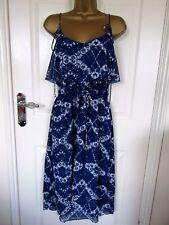 """FABULOUS NAVY/WHITE CHIFFON  DRESS BY PAPAYA UK-14 BUST 38""""  LENGTH 39-46"""""""
