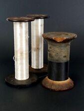 Vintage Antique Wooden Industrial Textile Rope Thread Spools BobbinsLot of 3