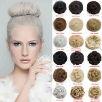 Women Natural Hairpiece Upto Chignon Fake Clip in On Hair Bun Hair Extensions US