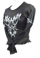 Black Tribal Mesh Top S Emo Gothic Sheer Made in the UK