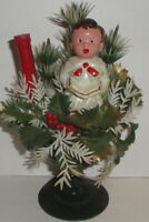 1960 VINTAGE HONG KONG CHOIRBOY HOLLY POINSETTIA CHRISTMAS Caroler DECOR Figure