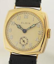 Elgin art deco señores reloj de pulsera en 18ct oro - 1930er años rara tonneauform