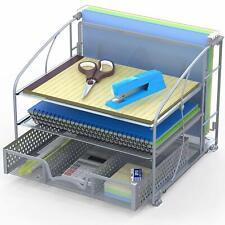 Desk Organizer 3 Tray w/Sliding Drawer and Hanging File Holder, Silver