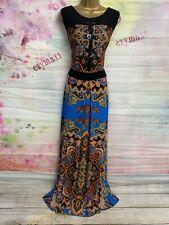 MONSOON SEQUINS FULL LENGTH BLACK/BLUE RETRO PRINT MAXI STRETCHY DRESS SIZE 16