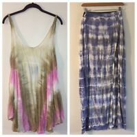 19aab2464f6a18 Lot Blue Life Tie Dye High Low Dress   Skirt Cover Up Beach Sizes Medium  NICE
