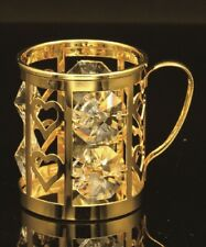 SWAROVSKI CRYSTAL ELEMENT STUDDED MUG FIGURINE ORNAMENT 24K GOLD PLATED