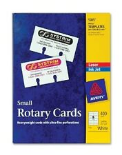 "NIB Avery Laser Inkjet Small Rotary Cards 2 1/6"" x 4"" Template 5385 White 400Ct"