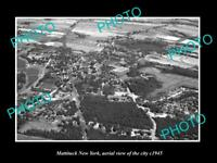 OLD LARGE HISTORIC PHOTO OF MATTITUCK NEW YORK AERIAL VIEW OF THE TOWN c1945