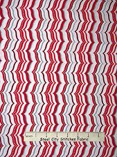 Christmas Fabric - Stripe White Red Silver Gray QT Celebrate The Season - Yard