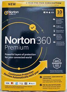 Norton Internet Security 360 Premium 10-Devices 1Yr, VPN, 75GBCloudback,DarkWeb