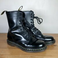 Dr Martens High 10-Eye Black Leather Ankle Boots, Size UK 6-6.5, EU 39-40, US 7