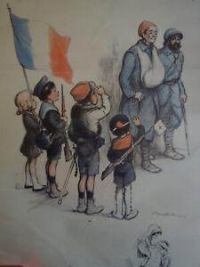 Lithographie Poulbot Les Poilus 1916