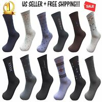 3,6,12 Pairs New Cotton Men Fashion Crew Casual Dress Socks Multi-Color 10-13