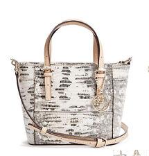NWT Guess Delaney Crossbody mini Tote purse Handbag Snake Embossed White beige