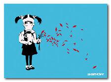 "BANKSY GAS MASK GIRL Petals *FRAMED* CANVAS ART  blue 18x12"""