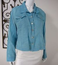 Allison Taylor 100% Linen Long Sleeve Blouse Size XL EXTRA LARGE Solid Blue