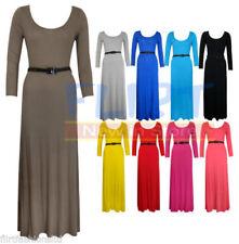 Full Length Patternless Long Sleeve Maternity Dresses
