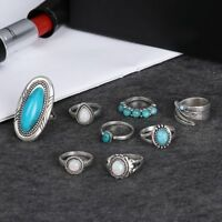 8Pcs/set 925 Sterling Silver Turquoise Opal Rings Natural Retro Gemstone Ring