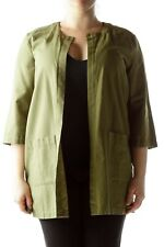 Eileen Fisher kimono cardigan jacket collarless pockets 3/4 sleeve olive army M