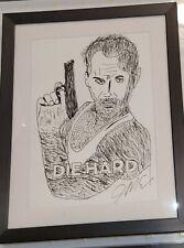 Original Bruce Willis Die Hard Drawing Signed By The Artist James Matthew Estep