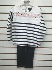 Girls Limited Too $44 2pc Navy & White Striped Set Size 12Mth. - 6X