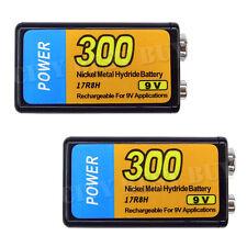 2x 9V 9 Volt 300mAH NiMH Recharge Rechargeable Battery