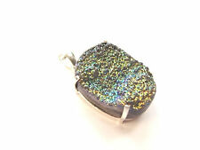BLACK TITANIUM DRUZY CRYSTAL GEMSTONE WHITE METAL PENDANT 24 g
