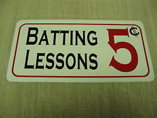 Batting Lessons Metal Sign 4 Batting Cages or Baseball Bat & Diamond Field