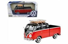 MOTORMAX VOLKSWAGEN TYPE 2 (T1) DELIVERY PICKUP TRUCK RED/BLACK 1:24 CAR 79552