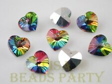 10pcs 14x8mm Heart Faceted Crystal Glass Pendant Loose Beads Silver & Colorful