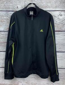adidas 3-stripes Track Jacket Front Zip Women's XL Black/Yellow Pockets
