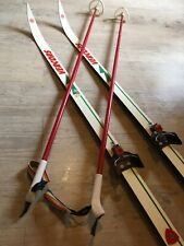 "Equiment de Ski ""vintage"" - Chaussure Carber - Ski VERCORS Team AR 190 + bâtons"