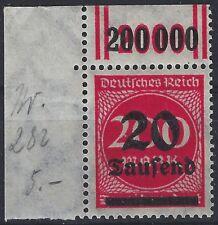 Ziffer im Kreis MiNr. 282I vom Walzenoberrand 2'9'2 aus Ecke 1 postfrisch