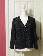 Travelsmith Petite XS Black Floral One Button Top