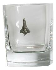 Space Shuttle Pair of Crystal Tumblers Pewter Motift Presentation Box 418